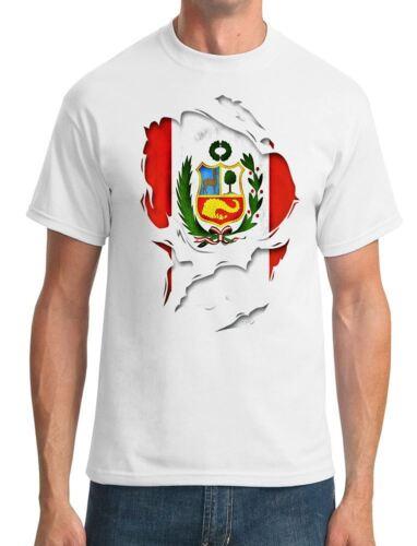 Mens T-Shirt Peru Peruvian Ripped Effect Under Shirt