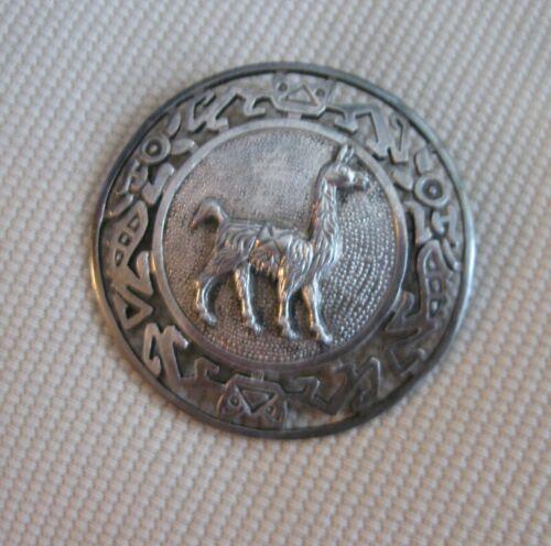 Vintage 925 Sterling Silver Peru Chavez Pictoral Embossed Brooch Pin