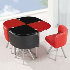 New Modern Space Saver Set Black Red Square Glass Dining Table 4 Chairs Ebay
