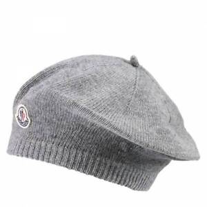 940bc76413a NWT NEW Moncler baby girls gray wool beret hat with logo XS