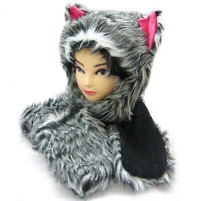 NEW UNISEX PLUSH CARTOON ANIMAL WINTER HAT CAP EARMUFF LONG WARM SCARF MITTEN RX