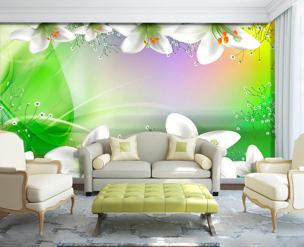 3D Pretty Flowers 580 WallPaper Murals Wall Print Decal Wall Deco AJ WALLPAPER