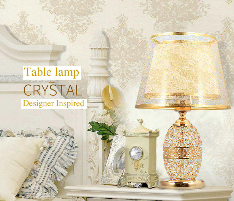 Designer lamp. InspiRouge  Gold Tone Crystal Table/Desk lamp. Designer DEL Dual Lighting 7b654b