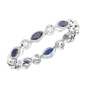 0-70Ct-Round-Diamond-amp-Blue-Sapphire-Full-Eternity-Wedding-Ring-in-9K-White-Gold