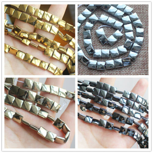 3x8mm Natural hematite Square Loose Beads 15 in 48pcs environ 38.10 cm