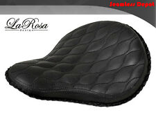 "LaRosa Harley Chopper Bobber Solo Seat - 16"" Black Leather Hourglass Tuck & Roll"