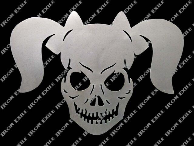 Skull Pigtails Metal Sign Stencil Wall Art Garage Hot Rat Rod Chopper Punk Biker