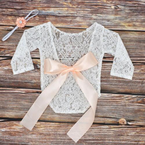 Newborn Infant Baby Girls Floral Dentelle Ange Body Combinaison Vêtements Tenues