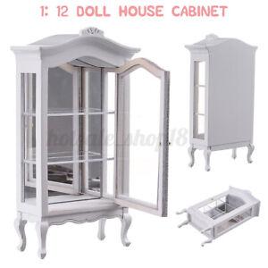 1-12-Vitrine-Schaufenster-Puppenhaus-Moebel-Miniaturen-Spielzeug-Holz-Weiss-DE