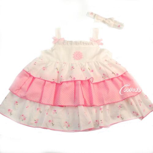 Baby Girls White /& Pink layered Spanish Style Dress,9-12,12-18,18-24 months,0-24