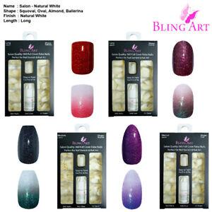False-Nails-360-Salon-Oval-Squoval-Ballerina-Almond-Long-White-Acrylic-Fake-Tips