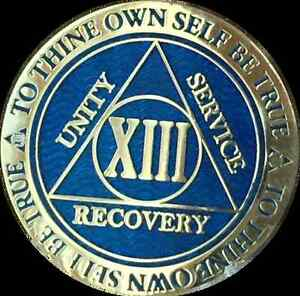 13-Year-AA-Medallion-Blue-Gold-Plated-Alcoholics-Anonymous-Sobriety-Chip-Coin