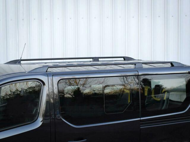 Van Demon Pair of Black Aluminium Roof Rails and Black Aluminium Cross Bars Set for Ford Transit Custom LWB