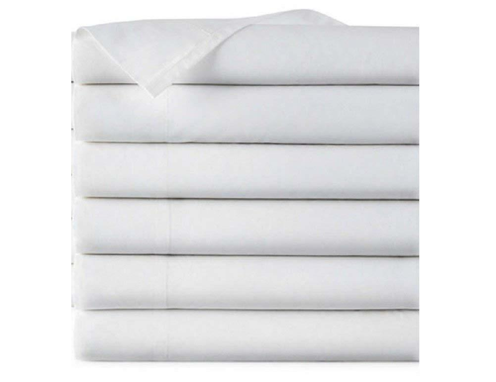 EOM Linens Twin Size Flat Sheets, T180 Thread Count Cotton Poly, 66x104 in,White