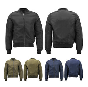 Men's Full Zip Up Metal Zipper Insulated Quilted Lining Flight Bomber Jacket