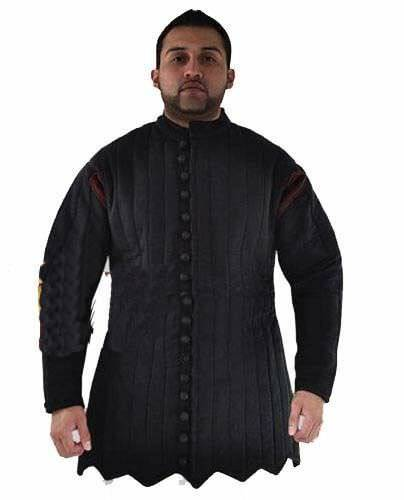 Medieval Gambeson Black Thick Padded Suit Of Quilted Costumes Sca Larp