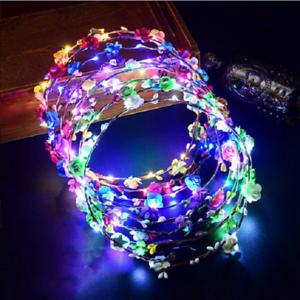 Blumen-Stirnband LED leuchten Haar Kranz Girlann Hochzeit Festival Party #NNT