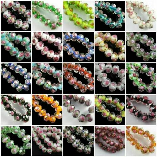 8mm Rondelle Glass Crystal Jewelry Rose Flower Inside Lampwork Loose Beads #G