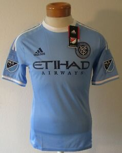 17f23c1f621 NWT Adidas New York City FC MLS Mens Home Authentic Jersey L Light ...
