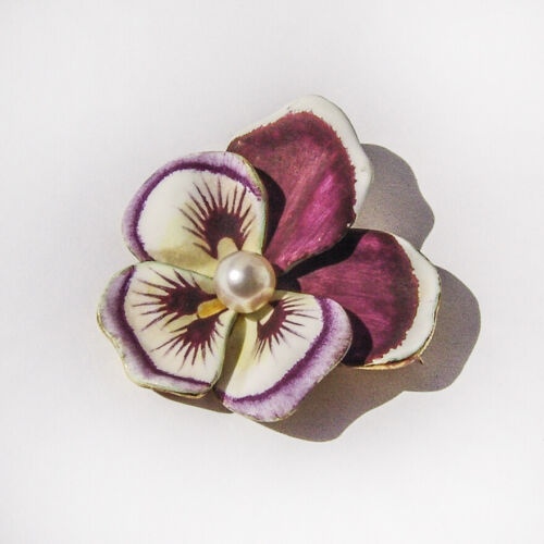 Enameled Pansy Flower Pearl Brooch Pin 14K Gold E… - image 1