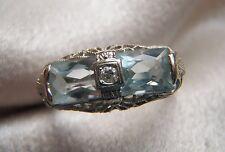FABULOUS 14K WHITE GOLD ANTIQUE DOUBLE AQUAMARINE DIAMOND FILIGREE RING SZ 8 1/4