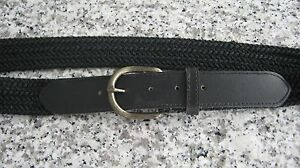 NEW-Black-Woven-Material-and-Black-Leather-Women-039-s-Belt-Size-10-LV384