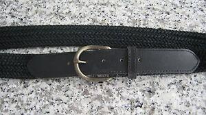 Nuevo-material-de-Tejido-Negro-y-negro-cuero-cinturon-para-mujer-Talla-10-LV384