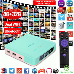 A95X R5 4+32G Android 10.0 OS 5G WLAN BT 4K TV BOX Quad Core HDMI Media Player