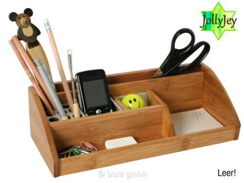 Stiftebox Bambus//Alu Schreibtischbox Box Organizer Stiftbox Geschenk Holz 101445