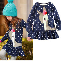2-7Y Deer Polka Dots Girls Dress Kids Clothing Long Sleeve Top T-Shirt dress AA
