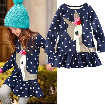 Blue Baby Girls Toddler Kids Long Sleeve Lace Dress One-piece Deer Cotton Skirt