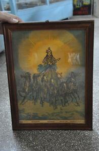 Vintage-Ravi-Varma-Lord-Suryanarayan-Imagen-Litho-Estampado-Armazon-Foto