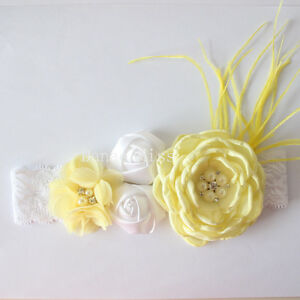 Satin-Chiffon-LEMON-amp-WHITE-Flowers-Pearl-Centres-amp-Feather-HEADBAND-White-Lace