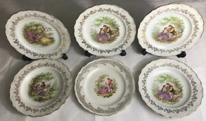 lot1-De-6-Assiettes-Fragonard-En-Porcelaine-Digoin-France-D-23-5-Cm