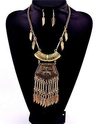 Antique Gold Plated Feathers Leaf Earrings Necklace Bib Chain Boho Choker Collar