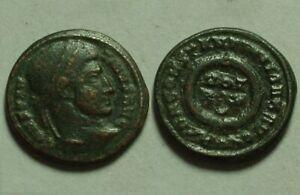 Constantine 322 Rare genuine ancient Roman coin Laurel wreath of success Ticinum
