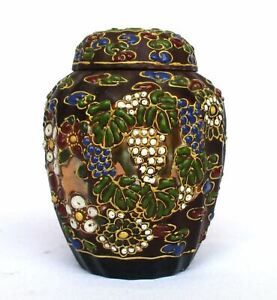 Kutani Ware Old Japanese Embossed Enamel Porcelain Ginger Jar with Double Covers