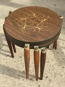 mid century modern  set of three side tables stack sables
