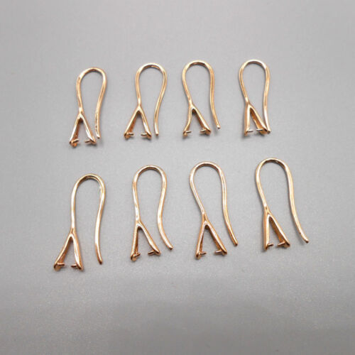 10PCS NEW Jewelry Design Finding ROSE GOLD Pinch Bail Hooks For Stone Earring