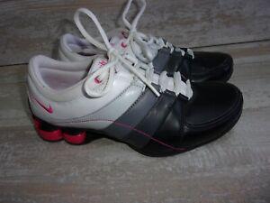 Nike-Shox-345791-161-White-Pink-Grey-Leather-Running-Shoes-Sz-7-Women
