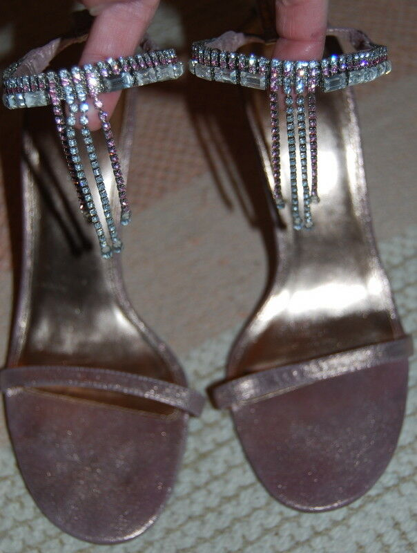 KAREN MILLEN metallic pink sandals shoes diamante jewel 39 UK 6 original box (B)