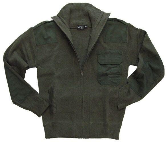 green Olive Armée Style Fermeture Éclair Cardigan - Laine Toison Haut Militaire