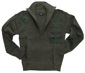Verde-Oliva-Estilo-Militar-Cremallera-Completa-Cardigan-Lana-Fleece-Saltatore