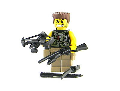 Zombie Hunter Custom Minifigure (SKU66) made with real LEGO® minfig walking dead