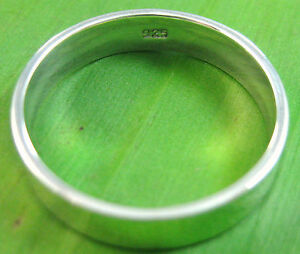 925-sterling-silver-plain-5mm-flat-wedding-band-UNISEX-Ring-size-6-5-US-12-75