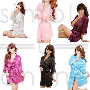 30b6231301 Image is loading Hot-Sexy-Silk-Satin-Lace-Dressing-Gown-Bath-