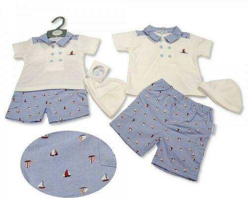 Baby boy Spanish style Romany 3 piece set Top shorts hat blue  Newborn 0-3 3-6 m