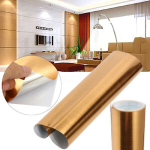 Image Is Loading Gold Chrome Mirror Diy Brushed Contact Paper Wallpaper