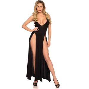 Detalles De Sexy Maxi Vestido Largo Con Escote Profundo V Negro Fiesta Coctel Cocktail