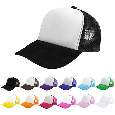 New Plain Baseball Cap Solid Trucker Mesh Blank Curved Visor Hat Adjustable Men